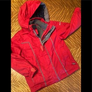 Kids ski jacket w/removable liner and hood, Sz XS
